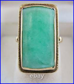 Chinese Vintage 14K Gold Ring with 21mm Green JADEITE Jade (7.4 grams, size 5.5)