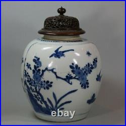 Chinese blue and white ginger jar with pierced wooden cover, Kangxi (1662-1722)