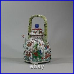 Chinese famille-verte moulded wine pot and cover, Kangxi (1662-1722)