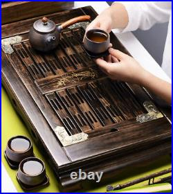 Chinese wood tea tray lotus carved antique style reservoir tea table solid wood