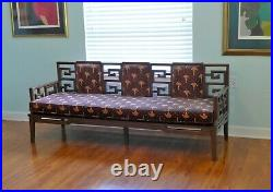 Chinoiserie Wood Sofa Couch Bench Settee Loveseat Fretwork Chinese Seating MCM