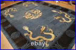 Ci 1920's ANTIQUE ART DECO DRAGON DESIGN CHINESE RUG 9.7x13 FIVE CLAWED DRAGON