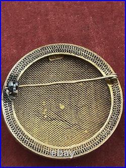 Estate Antique Brooch Art Deco Chinese Export Carnelian Enamel Silver Gold Naiad
