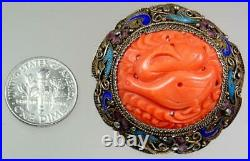 Exquisite Antique Chinese 19th c. Silver Enamel Coral Filigree Two Geese Brooch