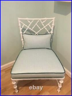 Faux Bamboo Cast Aluminum Chair KESSLER Chinese Chippendale KRAVET Linen