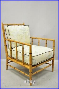 Faux Bamboo Chinese Chippendale Martha Stewart Bernhardt Lounge Chair & Ottoman