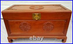 Fine Antique Chinese Rosewood Carved Trunk / Dowry Chest With Bats Camphor Lined
