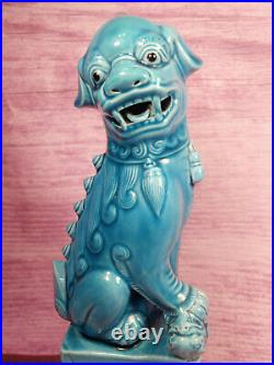 Foo Fu Dogs Chinese Turquoise Blue Ceramic Large 10 Inch Vintage Asian Statues 2