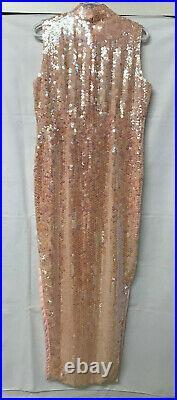 Full Sequin Beaded Pink Cheongsam Chinese QiPao Prom Evening Gown Phoenix Bird