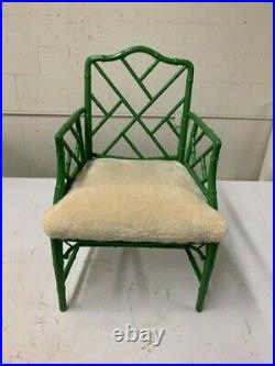 GREEN Chinese Chippendale Faux Bamboo Arm Chair 1960s SHEEPSKIN SEAT Pillow