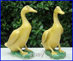 HTF Antique Family Owned PAIR Authentic CHINESE Figural Mandarin Ducks Porcelain