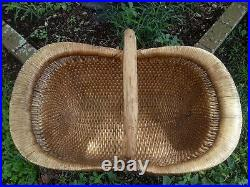 HUGE 30 Long VINTAGE CHINESE WILLOW BASKET Hand Woven Wood Handle