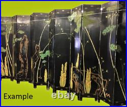 HUGE XL VTG Chinese 12 Panel Wood Carved Coromandel Screen Room Divider 20' X 9