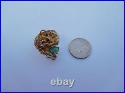 Incredible Victorian 14K Gold Ruby Emerald NOSEY Chinese Dragon Z Ring 12 3/4