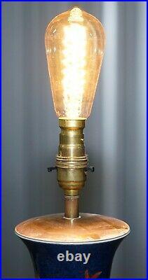 Kangxi Period 1662-1722 Chinese Fish Powder Blue Ground Iron Red Gilt Lamp Vase