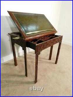 Maitland Smith Chinese Chippendale Telescoping Leathertop Book Document Map Desk