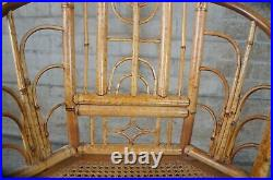 Mid Century Chinese Chippendale Bamboo Bentwood Cane Horseshoe Chair Chinoiserie