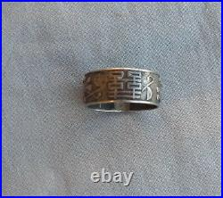 Old Vintage Antique Chinese Asian Silver Band Ring