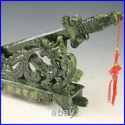Oriental Vintage Chinese Handwork Carved Jade Dragon Sword Statue @AAA