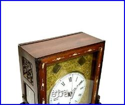 Original Antique Chinese 8 Day Fusee Mother Pear Inlaid Rosewood Bracket Clock