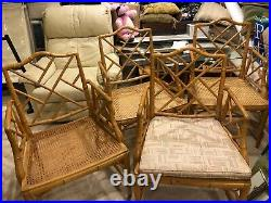 PRICE CUT FOUR Fabulous Vintage Bamboo Cane Seat Arm Chairs Chinese Chippendale