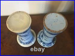 Pair Antique 18th 19th c. Delft Tin Glaze Faience Pottery Trumpet Vases Chinese