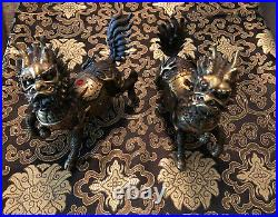 Pair Chinese Dragon Kylin Unicorn Foo Dog Lion Metal Bronze Vintage