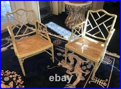 Pair Mid-Century Hollywood Regency Chinese Chippendale Bamboo Cane Chairs