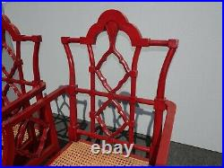 Pair Mid Century Red Chinese Chippendale Chinoiserie Cane Seat Arm Chairs