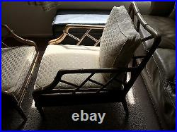 Pair Of Faux Chinese Bamboo Chippendale Style Lounge Chairs, Condition Good