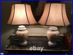 Pair Of Good Size Vintage Chinese Ginger Jar Lamps On Carved Wooden Bases