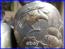 Pair Sterling Silver Vintage Antique Vase Chinese Japanese Hallmarked Scholar