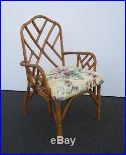 Pair of Vintage Mid Century Chinese Chippendale Bamboo Rattan Accent Chairs