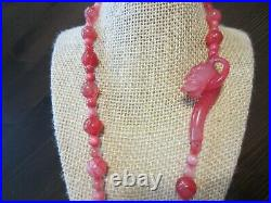 Pretty Vintage Chinese Red Pink Icy Jade Jadeite Dragon Clasp Carved Necklace