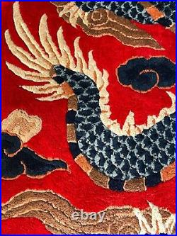 RARE Antique Chinese Imperial Red Dragon Silk Carpet Runner Area Rug