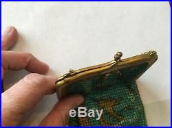 Rare Antique Whiting & Davis Deco Chinese Dragon Design Mesh Purse Jade Clasp