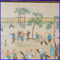 Rare Fine Quality Antique Chinese 19th C Watercolour Kungfu Training Painting
