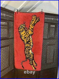 Rare Iconic Tiger Mid Century Vintage Rug 1960s 1970s Wall Hanging Antique