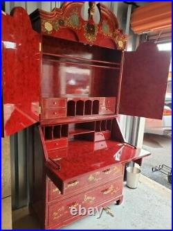 Secretary Desk / Hutch Vintage Chinese Red Lacquer Chinoiserie Hand Painted