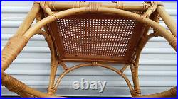 Set Of 4 Mid Century 50's Chinese Chippendale Bamboo Cane Seat Arm Chairs
