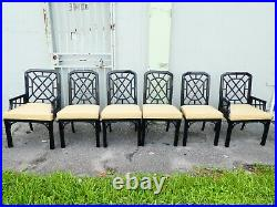 Set Of 6 Vintage Mcguire Chinese Chippendale Dining Chairs