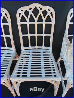 Set of 6 Vtg McGuire Rattan Rawhide Cathedral Back Chairs Chinese Chippendale
