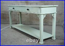 Stanley Stoneleigh Chinese Chippendale Mahogany Sofa Console Table Boho Chic