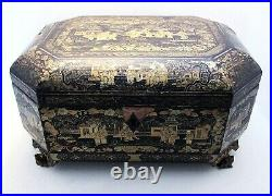 Superb 19th-Century Antique Chinese Lacquered Wood Large Tea Caddy Chest/Box