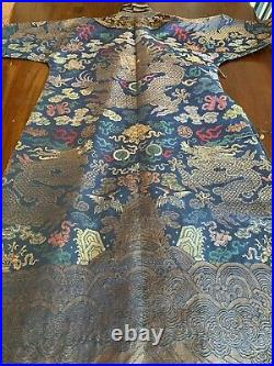 Superb Rare Vintage Chinese Silk Dragon Robe with 9 Dragons & 5 Claws