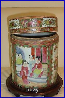 Unusual Vintage Chinese Famille Rose Lidded Canister Jar on a Wood Base