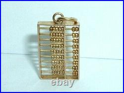 VINTAGE 14k YELLOW GOLD MOVEABLE CHINESE ABACUS PENDANT CHARM