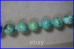 VINTAGE CHINESE 100% NATURAL TURQUOISE 10mm KNOTTED BEADS NECKLACE FISH CLASP