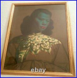 VINTAGE TRETCHIKOFF FRAMED/GLAZED CHINESE GIRL PRINT 26 x 22