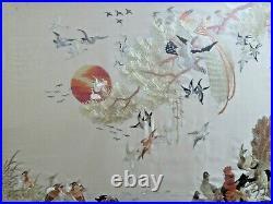VTG Chinese 100 BIRDS hand embroidered silk fine art textile panel
